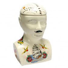 Phrenology Head Large Tattoo Flash Storage Pot Cookie Jar Unusual Gift