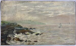 Antique 19th / 20th C. AAFA American New England Coastal Seascape Sailboats Oil