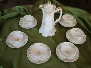 HAVILAND LIMOGES CHOCOLATE COFFEE TEA SET, 6 CUPS & POT, THE COUNTESS with flaws