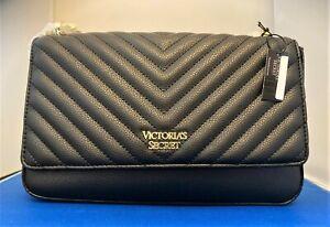 Victoria's Secret Pebbled V-Quilt Medium Bond Street Shoulder Bag in Black