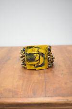 Bracelet Iridescent Gold Blue Bead Painted Buckle Clasp Bracelet