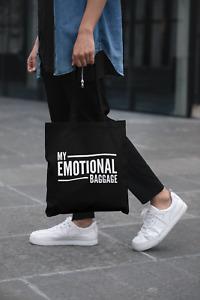 My Emotional Baggage Black Tote Bag Long Handled Lightweight Tote Storage Gift