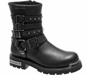 Harley Davidson Eddington Ladies Black Leather Biker Boots Triple Strap Buckle
