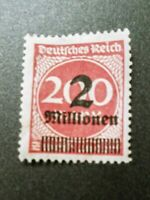 1923 Weimar Republic German Empire overprint stamp 2 million on 200 mark stamp