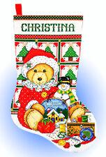 Cross Stitch Kit ~ Design Works Stitching Teddy Bear Christmas Stocking #DW5485