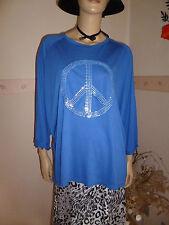 Damen Oberteil-Shirt in Royalblau mit Paillettenapplikation PEACE Motiv Gr.44-46