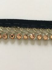 NINE METRES ATTRACTIVE BRAIDED BLACK & GOLD VALOUR CRYSTALS LACE TRIM BORDER