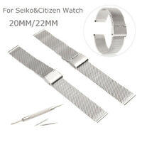 20/22mm Shark Straight Wire Mesh Watch Band Divers Strap