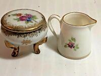 Vintage pretty Bone China Miniatures Hand Painted Trinket Dish Box & Pitcher