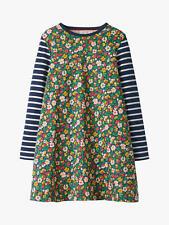 EX MINI BODEN GIRLS FLORAL PRINT JERSEY SWING DRESS GREEN NEW