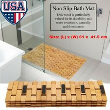 Foldable Bamboo Shower Mat Bath Floor Mat Spa Sauna Non-Slip & Mold Resistant US