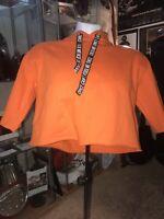DIVIDED (H&M) Women's Orange Cropped Hoodie Drawstring Sweatshirt Size X-Small