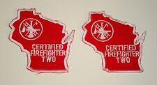2 Vintage Wisconsin Certified Firefighter Two Cloth Patch New NOS 1980's