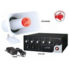 NEW Speco DDAK2 Digital Deterrent Kit w/ 15W Amplifier and Horn with Strobe