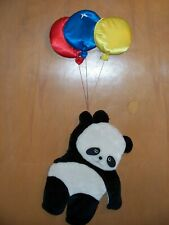 Russ Berrie plush Nursery Wall Decor Hanging Panda with Balloons #6905 17""