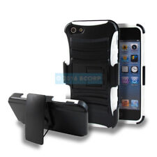 APPLE IPHONE 5 5S SE BLACK WHITE RUGGED HOLSTER 2-PIECE SHOCKPROOF CASE COVER