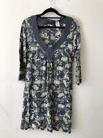 White Stuff Grey Green Print Floral Dress V-Neck Cotton Size 12 A0407