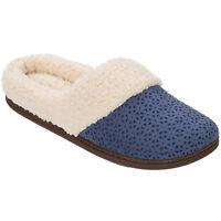 Dearfoams Womens Microsuede Clog Slippers (indigo)