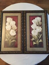 SET OF 2 BLACK AND GOLD WOOD FRAMES GRAY MAT FLORAL PRINT BY IOR LEVASHOV SONOMA