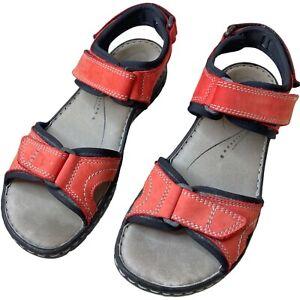 Josef Seibel Stefanie 01 Red Comfort Sandal 9 40 Leather Lightweight Ankle Strap