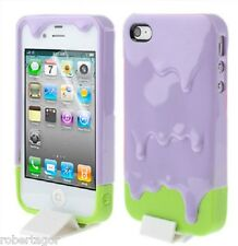Case Cover Ice Cream Ice Cream 3 D 3D Melt for Apple IPHONE 4 & 4S Lilac Green