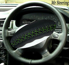 ITALIAN LEATHER STEERING WHEEL COVER GREEN STITCH FOR LAND ROVER FREELANDER MK1