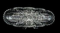 "ABP BRILLIANT PERIOD CUT CRYSTAL DAISY HOBSTAR 11 3/4"" CELERY DISH 1890-1915"