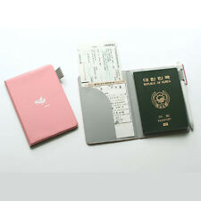 Cute Hard Cover Baby Pink Passport Case Travel Wallet Card Pocket Pen Holder