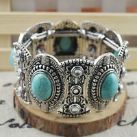 Classical Women's Vintage Natural Turquoise Cute Tibet Silver Bracelet Precise