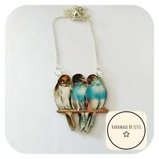 Blue Birds On A Branch Necklace 🐦 Wooden ✨ Handmade 🌻Silver Plated Chain large