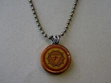 "Lucky Penny Pendant Solar Plexus 3rd Chakra Charm on 24"" Chain Necklace Yellow"