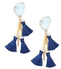 Sole Society Stone Tassel Earring Blue Tassel