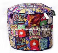 "Blue 18"" Handmade Round Ottoman~Pouf~Stool~Chair Pouffe Moroccan Indian Decor"