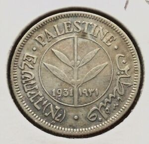 1931 Palestine 50 Mils British Mandate Silver Coin, Km#6...فلسطين