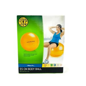 "Golds Gym 55 cm. Gold 5'3"" & Under Yoga Workout Gym Fitness Body Ball w/ Pump"