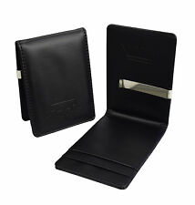 Da Uomo Soldi Clip ECOPELLE-NERO SLIM WALLET-Cassa ID Card Holder