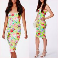 SALE Missguided Petite Green Pink Floral Scuba Midi Bodycon Dress 4 UK 0 US