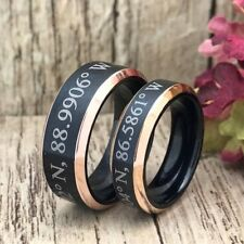 His & Hers Wedding Rings, Personalized Two Tone Coordinates Titanium Rings