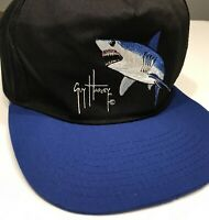 RARE Guy Harvey Vintage Shark Fishing Snap Back Black Blue Hat