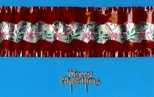 RED CAKE FRILL WITH SILVER HOLLY CENTRE BAND & MERRY CHRISTMAS MOTTO Free1st P&P