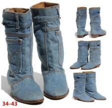 Womens European Style Retro Denim Mid Calf Boots Sz35-43 Retro Casual Shoes