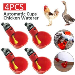 4pcs Chicken Automatic Drinker Cup Waterer Nipple Chook Bird  Water Feeder Tools
