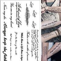 2 abnehmbare Tätowierung Englisch Wort Body Art Tattoos Aufkleber wasserdicht