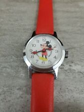 Mickey Mouse Watch Silver & Red / Bradley Time Division WORKS!