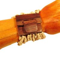 Beige Handmade Beaded Sparkle Stretch Wood Buckle Seed Bead Bali Cuff Bracelet