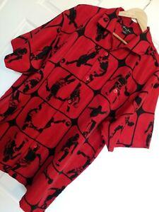 SEAN JOHN Red Basketball Print Short Sleeve Button Front Shirt Size XL