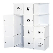 HOMCOM Armoire Penderie à Vêtements Modulable DIY 10 Cubes Étagère de Rangement