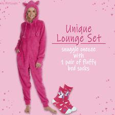 Ladies Girls 1Onesie Fluffy Socks Lounge Gift Set for Her One Piece Pyjamas Hood
