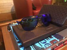 Men's Gucci sport blue sunglasses mirror rubber frame ponch chips round r GG 225