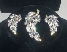 Stunning Vintage Bellini Rhinestone & Baguette Brooch & Clip Earrings